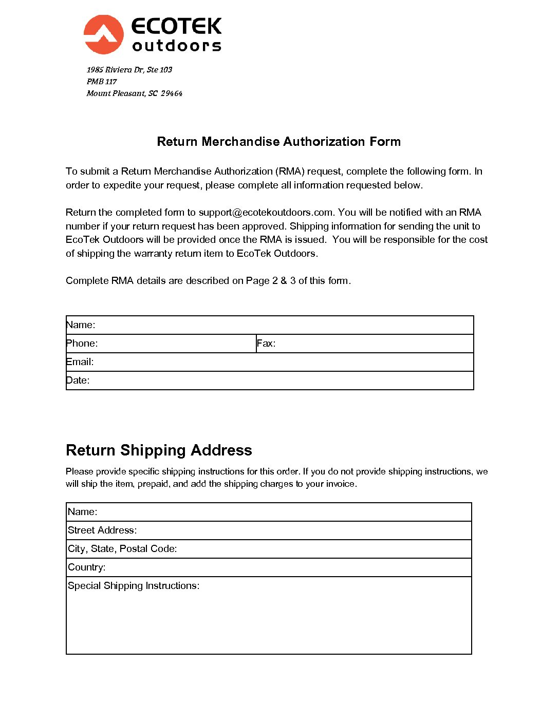 Return Authorization Template Word Pdf By Business In